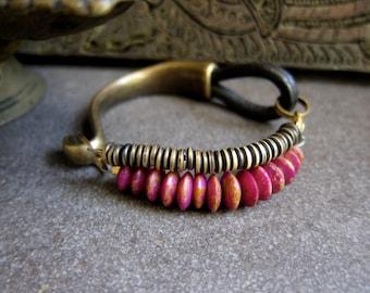 AFrican Jewelry, Tribal Bracelet,THE MORPHO BRACELET,Indian Collection,Radian Orchid,Brass,boho Bracelet,Bone Jewelry,Purple,Leather Jewelry
