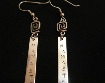 Namaste Earrings, Namaste Jewelry, Namaste, Yoga jewelry, Yoga earrings, Greek key earrings,
