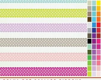 Textured Polka Dot Digital Ribbons - 45 ribbons scallop edge Clip Art ClipArt - Scrapbooking - Instant Download -  G2275