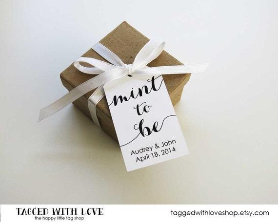 Wedding Favor Tag - MEDIUM Size - Mint to be - Custom Tag - 36 Pieces