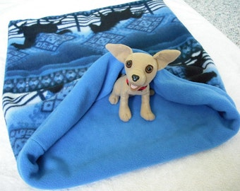 "Small Dog Fleece Dog Bed, Snuggle Sack — Southwest Western Horses in Blue — Mini Dachshund Chihuahua Dog Bed, Sleeping Bag  20x25"""