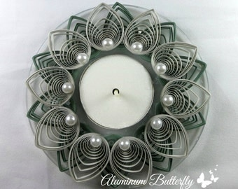 Quilled Candle Holder - Flower in Sage Green and Gray