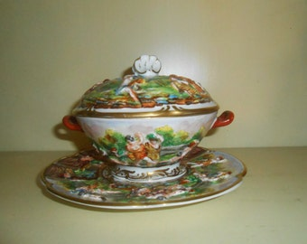 Vintage Capodimonte Covered Dish with Saucer , Butter Dish , Marking with Crown over N