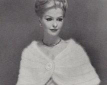 Ice Queen • 1950s Knit Wedding Bridal Stole Wrap Pattern • Vintage 50s Knitting Bolero Shrug Patterns • Retro Fleisher Yarns • PDF File