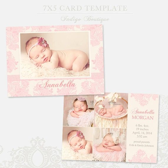birth announcement template for photographers 7x5 photo card. Black Bedroom Furniture Sets. Home Design Ideas