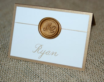 Double backed Place Cards with Wax Seal - Ivory or White on Gold or Silver Fold Over Card with Gold or Silver Wax Seal