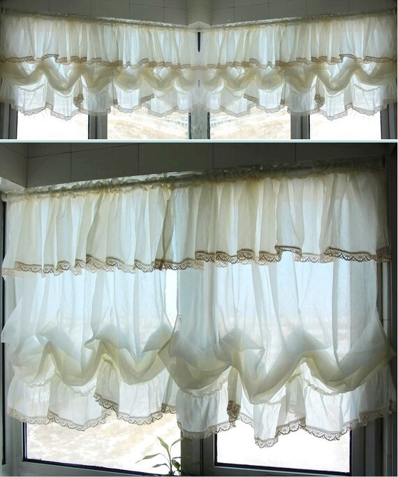 Sale: Shabby Chic Ivory Balloon Curtain Pull-up Panel Fixed