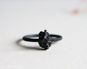 Alternative engagement ring Black Diamond Ring unique engagement ring Sterling silver oxidized ring - Black Rough Diamond
