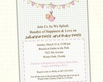 Baby Bunting Boy Girl Shower Invitation - Sprinkle Baby Invitation - Digital Invitation - Boy Girl Bunting Baby Shower Invite - B1440