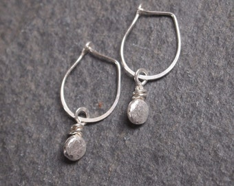 Silver Earrings, Pebble Earrings, Handmade Earrings