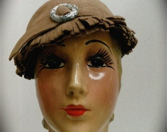 Vintage Soft Taupe Wool Cloche with Self Fringe and Thin Band with Sparkling Star Buckle by Webston Originals