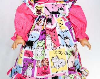 18 Inch Doll Clothes, Pinafore Dress, Flowers, Kitty Cat, Pink, Valentine's Day