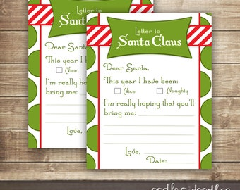 Children's Letter to Santa, Santa Letter, Naughty or Nice List, Christmas Wish List, Printable, Instant Download