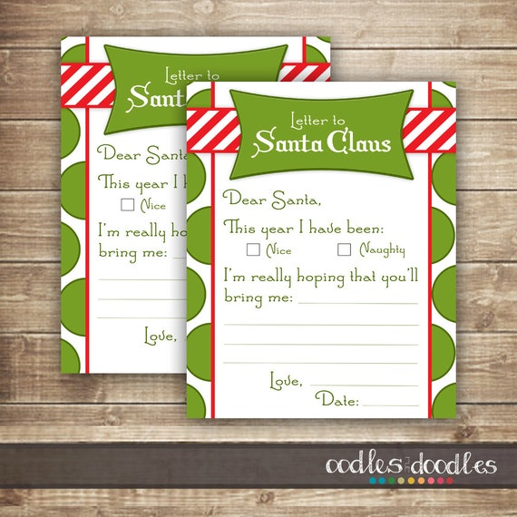 Childrens letter to santa santa letter naughty or nice list il570xn spiritdancerdesigns Choice Image
