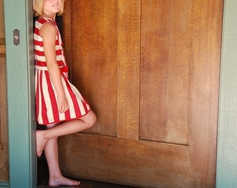 girls dress with red bows - girls stripe dress with full skirt - 1 2 3 4 5 6 7 8 years girls dress