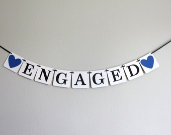 engagement party decorations - engagement party banner - engaged banner - rustic chic wedding decorations - Engaged