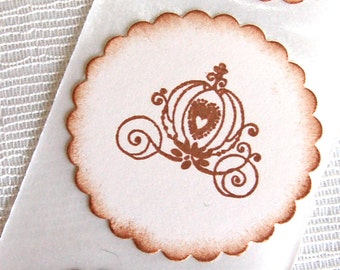 Disney Cinderella's Carriage (Girl's Fairy Tale Birthday Party decor/ invitations)  -Set of 12 Stickers/ Envelope Seals (Cinderella's Coach)