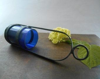 Vintage iron blue glass candle holder Metal tea light holder Hanging tea light  holder Garden candle holder