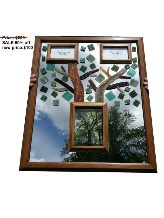 sale 50 off family tree stained glass mirror w picture. Black Bedroom Furniture Sets. Home Design Ideas