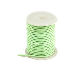 3mm Round Leather Cord, Light Green Leather Cord, Genuine Round Leather Cord, Pkg of 30 ft., D0F7.LN52.L30F