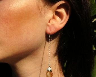 Citrine Earrings // Raw Citrine // Earrings //  Crystal Earrings  // Sterling Silver Earrings // Crystal Earrings