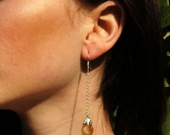 Citrine Earrings // Raw Citrine // Earrings //  Crystal Earrings  // Sterling Silver Earrings // Crystal Earrings // Silver Citrine Earring