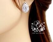 Wedding Earrings Teardrop Zirconia Earrings Wedding Jewelry Bridal Earrings Bridesmaid Earrings Wedding Accessory Bridal Jewelry Pazu