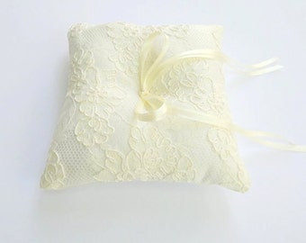Ivory wedding ring pillow. Ivory satin ring bearer with ivory floral lace.