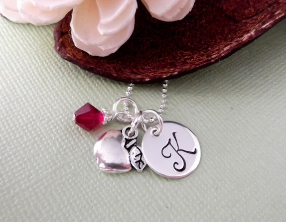 Apple Charm Necklace with Initial Charm and Birthstone- Teacher's Necklace- Teacher Gift- Hand Stamped Children's Jewelry