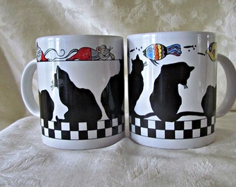 Vintage, Pair, of Black and White, Checkered, BIA CORDON BLEU, Ceramic, Cat, Coffee  Mugs