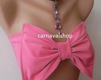 Pink Bow Bandeau, Bow bikini top, Summer,Beach,bridesmaid gift