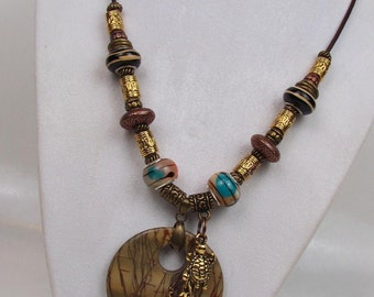 Earthtone Natural Stone Necklace - Boho Necklace -Fashion Necklace - Picasso Jasper and Beads