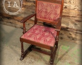 Vintage Industrial Antique Padded Arm Front Hall Chair Work Floral Pattern