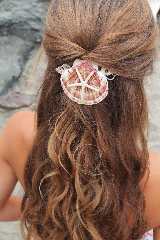 Mermaid hair comb starfish and seashell accessory by poppycoast