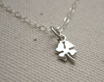 Tiny Four Leaf Clover Sterling Silver Necklace - Good Luck Shamrock