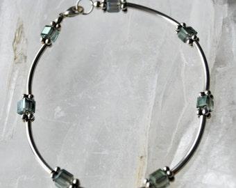 Moss green square crystals and sterling silver bracelet set delicate bracelet keepsake bracelet