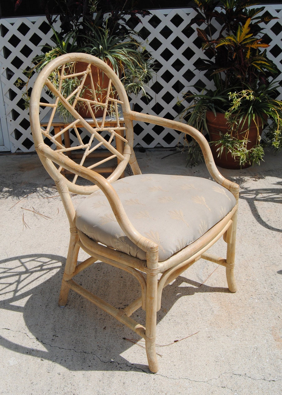 Vintage Set Of Four Cracked Ice Mcguire Style Rattan Dining