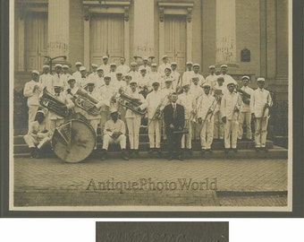 Frederick Maryland music band with drum antique photo
