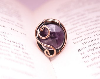 Amethyst ring -gemstone ring -  wire wrapped jewelry ring , amethyst jewelry ,  wire wrapped jewelry handmade