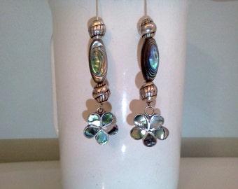 OOAK Handmade Abalone and Silver Long Drop Earrings