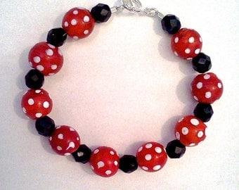 Playful Polka Dot Red Lampwork Bead Bracelet OOAK