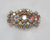 Reserved for Katie - Vintage Coro Bow Shaped Aurora Borealis Rhinestone Signed Brooch Pin
