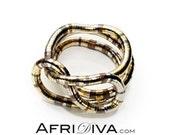 AfriDiva MEHRFARBIG - als Kette, Armband oder Ring! Unendlich biegsamer Schmuck. Handarbeit aus 100% Recyclingmaterial.