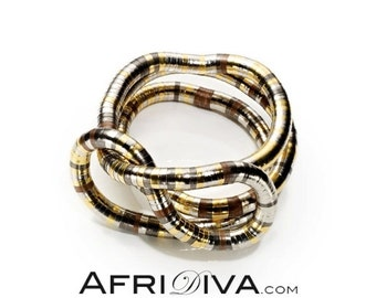 AfriDiva TRICOLOR - as Necklace, Bracelet or Ring! Endless flexible jewellery. Handmade out of 100% recycling material.