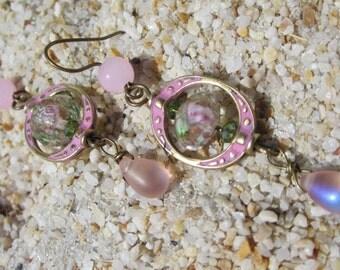 Pink Flower Crystal Dangle Earrings