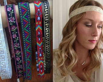 Boho headband Greek Aztec Rose headband - Flower Headband - Tribal Headband - Yoga Headband - White Greek Headband - Hippie Headband