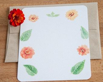 Personalized Stationary - Marigold Flowers and Mint Arrangement - Stationary Set - Gift Stationery Set