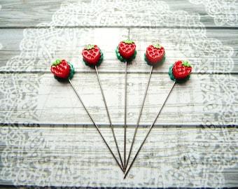 5 Mini Strawberry Handmade Decorative 2 inch Stick Pins - Sewing Quilting Pins - Scrapbook Card Embellishment Pins - Craft Supplies - QPR2