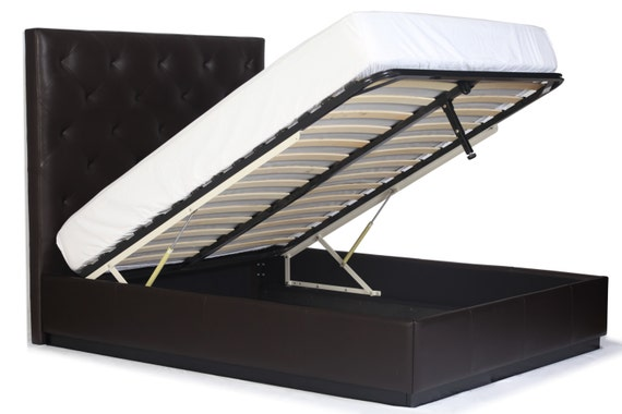 Gas Lift Storage Bed : Queen size gas lift storage bed with diamond tufting genuine