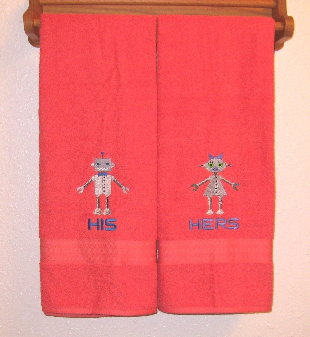 His and hers robots bath towel set geek by sayitinstitches777 for His and hers bathroom set